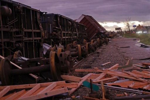(AP Photo/Gerald Herbert). Derailed box cars are seen in the aftermath of Hurricane Michael in Panama City, Fla., Wednesday, Oct. 10, 2018.