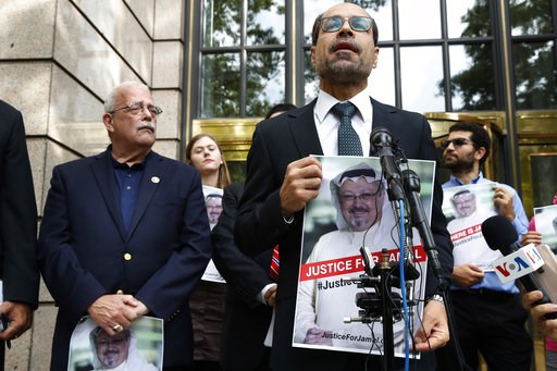 (AP Photo/Jacquelyn Martin). Nihad Awad, right, executive director for the Council on American-Islamic Relations (CAIR), a Muslim civil rights and advocacy organization, speaks during a news conference with Rep. Gerry Connolly, D-Va., left, asking for ...
