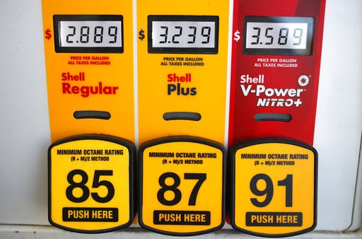 (AP Photo/David Zalubowski, File). FILE- In this May 25, 2018, file photo prices for the three grades of gasoline light up the pump at a Shell station in southeast Denver. On Thursday, Oct. 11, the Labor Department reports on U.S. consumer prices for S...