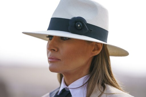 (AP Photo/Carolyn Kaster). In this Oct. 6, 2018 photo, First lady Melania Trump pauses as she speaks to media during a visit to the historical Giza Pyramids site near Cairo, Egypt. First lady Melania Trump says she thinks she's among the most bullied p...