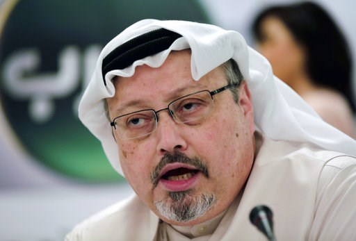 (AP Photo/Hasan Jamali, File). FILE - In this Feb. 1, 2015, file photo, Saudi journalist Jamal Khashoggi speaks during a press conference in Manama, Bahrain. The disappearance of Khashoggi, during a visit to his country's consulate in Istanbul on Oct. ...
