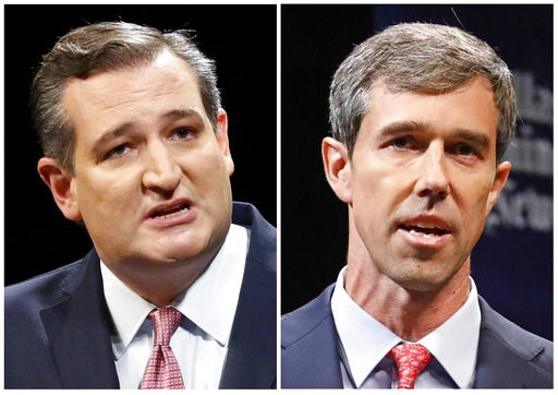 (Tom Fox/The Dallas Morning News via AP, Pool, File). This combination of Sept. 21, 2018, file photos show Republican U.S. Senator Ted Cruz, left, and Democratic U.S. Representative Beto O'Rourke, right, during their first Senate debate in Dallas. O'Ro...