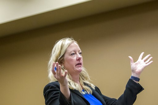 (Cory Morse  /The Grand Rapids Press via AP). Assistant Kent County Prosecutor Kimberly Richardson speaks during the probable-cause hearing for Seth Welch and his wife, Tatiana Fusari, at 63rd District Court in Grand Rapids on Wednesday, Oct. 10, 2018....