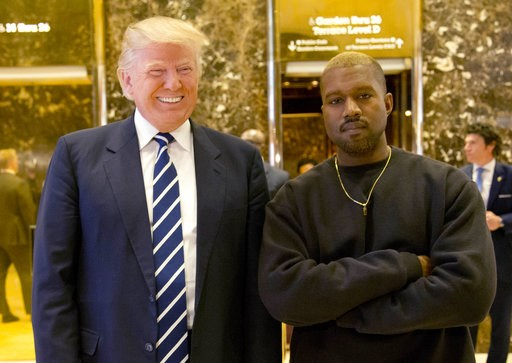 (AP Photo/Seth Wenig, File). FILE - In this Dec. 13, 2016, file photo, President-elect Donald Trump and Kanye West pose for a picture in the lobby of Trump Tower in New York.  Kanye West will visit the White House on Thursday to meet with President Don...