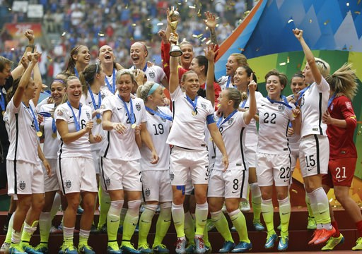 (AP Photo/Elaine Thompson, File). FILE - In this Sunday, July 5, 2015, file photo, the U.S. team celebrates with the trophy after it defeated Japan 5-2 in the FIFA Women's World Cup soccer championship in Vancouver, British Columbia. FIFA is rolling ou...
