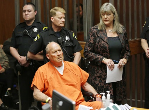 """(AP Photo/Rich Pedroncelli). FILE - In this Friday, April 27, 2018 file photo, Joseph James DeAngelo, 72, who authorities suspect is the """"Golden State Killer"""" responsible for at least a dozen murders and 50 rapes in the 1970s and 80s, is accompanied by..."""