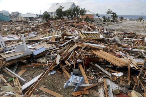 (Douglas R. Clifford/Tampa Bay Times via AP). The coastal township of Mexico Beach, Fla., lays devastated on Thursday, Oct. 11, 2018, after Hurricane Michael made landfall on Wednesday in the Florida Panhandle.