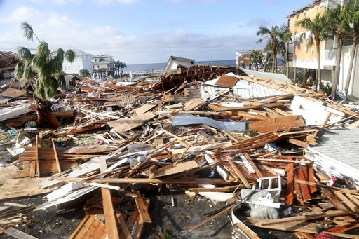 (Douglas R. Clifford/Tampa Bay Times via AP). The coastal township of Mexico Beach, population 1200, lay devastated on Thursday, Oct. 11, 2018, after Hurricane Michael made landfall on Wednesday in the Florida Panhandle.