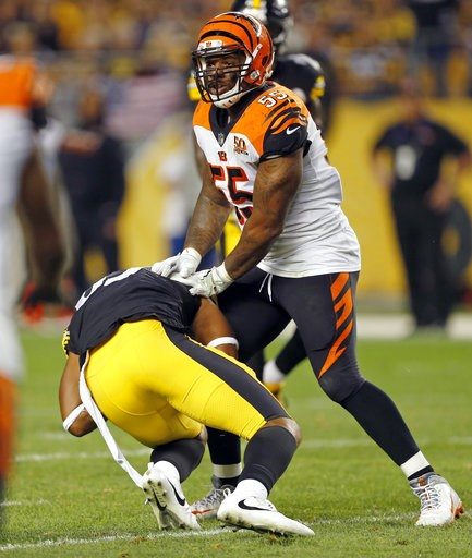(AP Photo/Keith Srakocic, File). FILE - In this Oct. 22, 2017, file photo, Cincinnati Bengals outside linebacker Vontaze Burfict (55) shoves Pittsburgh Steelers tight end Xavier Grimble (85) to the ground as he attempts to get up after catching a pass ...