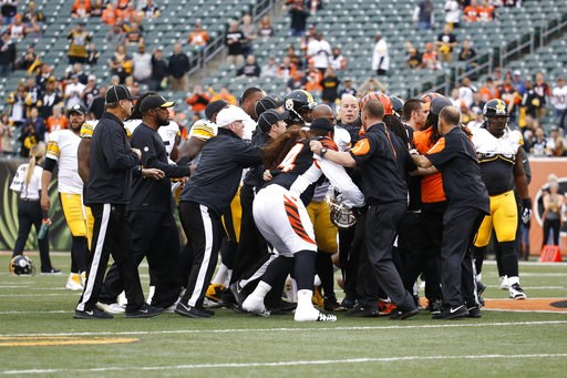 (AP Photo/Frank Victores, File). FILE - In this Dec. 13, 2015, file photo, a scrum breaks out on the field between the Cincinnati Bengals and the Pittsburgh Steelers players during practice before an NFL football game, in Cincinnati. The Bengals had tw...