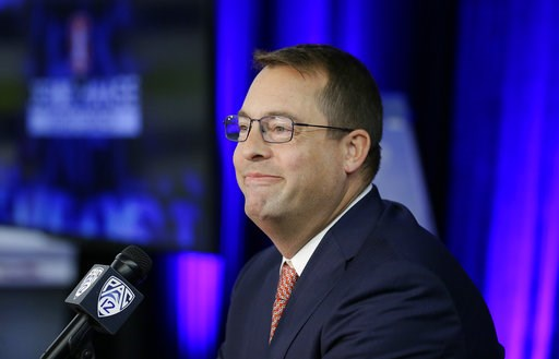 (AP Photo/Eric Risberg). Stanford head coach Jerod Haase smiles at reporters during the Pac-12 NCAA college basketball media day Thursday, Oct. 11, 2018, in San Francisco.