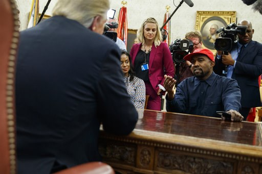 (AP Photo/Evan Vucci, File). FILE - Oct. 11, 2018 file photo, Rapper Kanye West speaks during a meeting in the Oval Office of the White House with President Donald Trump, in Washington. It's one of President Donald Trump's favorite talking points in to...