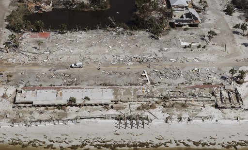 (AP Photo/Chris O'Meara). Homes washed away by Hurricane Michael are shown in this aerial photo Thursday, Oct. 11, 2018, in Mexico Beach, Fla.  Michael made landfall Wednesday as a Category 4 hurricane with 155 mph (250 kph) winds and a storm surge of ...