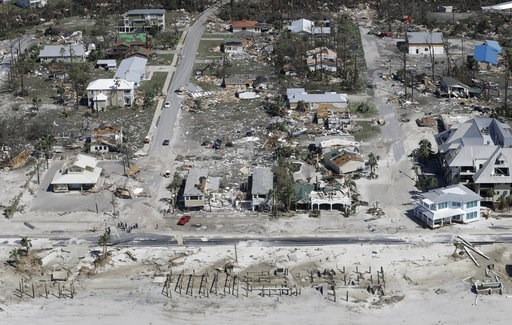 (AP Photo/Chris O'Meara). Homes destroyed by Hurricane Michael are shown in this aerial photo Thursday, Oct. 11, 2018, in Mexico Beach, Fla.