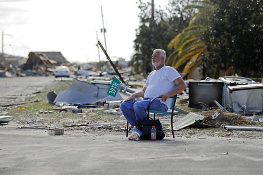 (AP Photo/Gerald Herbert). Resident Tony Feller, who stayed in Mexico Beach, Fla., during Hurricane Michael, sits in a chair amidst the destruction, Thursday, Oct. 11, 2018.