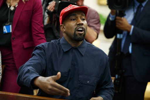 (AP Photo/Evan Vucci). Rapper Kanye West speaks during a meeting in the Oval Office of the White House with President Donald Trump, Thursday, Oct. 11, 2018, in Washington.