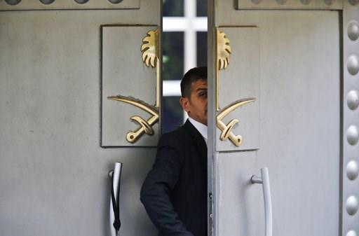 (AP Photo/Lefteris Pitarakis, File). FILE - In this Tuesday, Oct. 9, 2018 file photo, a security guard walks in the Saudi Arabia consulate in Istanbul, Turkey. The Trump administration's ongoing courtship of Saudi Arabia is on pause over allegations th...