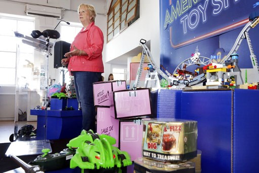 (AP Photo/Richard Drew). In this Aug. 30, 2018, photo Anne Marie Kehoe, Vice President of Toys at Walmart speaks about the retailer's Toy Shop at their event in New York. Walmart says 30 percent of its holiday toy assortment will be new. It will also o...
