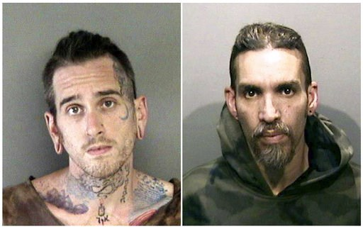 (Alameda County Sheriff's Office via AP, File). FILE - This combination of June 2017 file booking photos provided by the Alameda County Sheriff's Office shows Max Harris, left, and Derick Almena, at Santa Rita Jail in Alameda County, Calif. A judge wil...