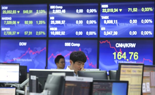 (AP Photo/Ahn Young-joon). A currency trader watches monitors at the foreign exchange dealing room of the KEB Hana Bank headquarters in Seoul, South Korea, Friday, Oct. 12, 2018. Asian stocks were mixed on Friday as better-than-expected Chinese trade d...