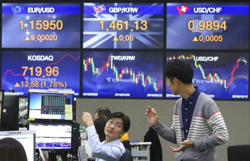 (AP Photo/Ahn Young-joon). Currency traders work at the foreign exchange dealing room of the KEB Hana Bank headquarters in Seoul, South Korea, Friday, Oct. 12, 2018. Asian stocks were mixed on Friday as better-than-expected Chinese trade data gave some...
