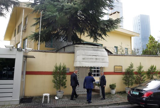 "(AP Photo/Petros Giannakouris). Saudi officials enter Saudi Arabia's consulate in Istanbul, Friday, Oct. 12, 2018. A senior Turkish official says Turkey and Saudi Arabia will form a ""joint working group"" to look into the disappearance of Saudi writer J..."