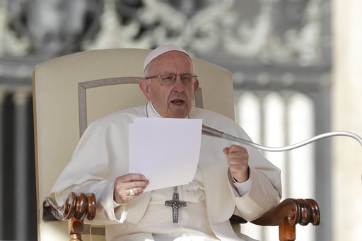 (AP Photo/Gregorio Borgia). Pope Francis delivers his message on the occasion of his weekly general audience in St.Peter's Square, at the Vatican, Wednesday, Oct. 10, 2018.