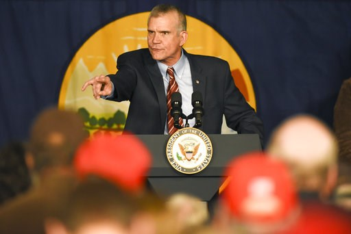 (Rachel Leathe/Bozeman Daily Chronicle via AP, File). FILE - In this Oct. 2, 2018 file photo, Montana auditor and Republican U.S. Senate candidate Matt Rosendale speaks during a rally at the Gallatin County Fairgrounds, in Bozeman, Mont. Political obse...