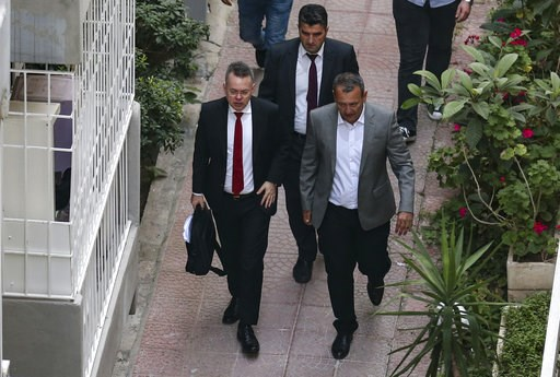 (AP Photo/Emre Tazegul). U.S. Pastor Andrew Brunson, front left, arrives at home after his release, following his trial in Izmir, Turkey, Friday, Oct. 12, 2018, A Turkish court on Friday convicted an American pastor of terror charges but released him f...