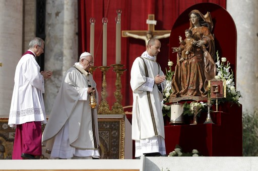 (AP Photo/Andrew Medichini). Pope Francis, center, incenses the relics during a canonization ceremony in St. Peter's Square at the Vatican, Sunday, Oct. 14, 2018. Pope Francis canonizes two of the most important and contested figures of the 20th-centur...