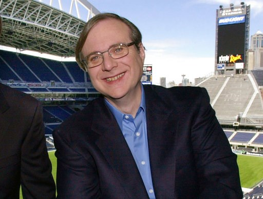 (AP Photo/Elaine Thompson, File). FILE - In this July 17, 2001 file photo, Seattle Seahawks owner Paul Allen appears in a suite in the team's stadium in Seattle. Allen, billionaire owner of the Trail Blazers and the Seattle Seahawks and Microsoft co-fo...