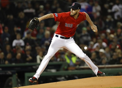(AP Photo/David J. Phillip). Boston Red Sox starting pitcher Chris Sale throws against the Houston Astros during the first inning in Game 1 of a baseball American League Championship Series on Saturday, Oct. 13, 2018, in Boston.