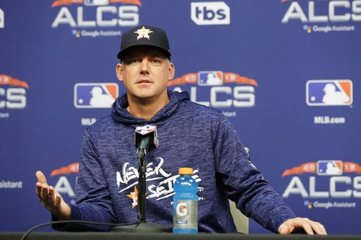 (AP Photo/Frank Franklin II). Houston Astros manager AJ Hinch speaks during a news Monday, Oct. 15, 2018, in Houston. The Astros will face the Boston Red Sox in Game 3 of the baseball American League Championship Series Tuesday Oct. 16 2018.