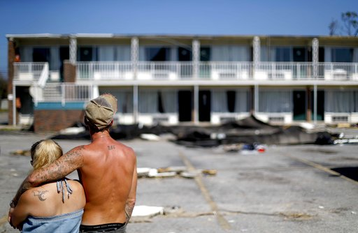 (AP Photo/David Goldman). Residents line up for food from the Red Cross outside a damaged motel, Tuesday, Oct. 16, 2018, in Panama City, Fla., where many residents continue to live in the aftermath of Hurricane Michael. Some residents rode out the stor...