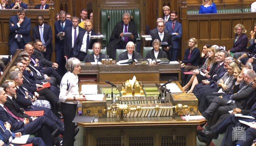(PA via AP). Britain's Prime Minister Theresa May addresses the House of Commons, London, with an update on the latest developments in the Brexit negotiations, Monday Oct. 15, 2018.