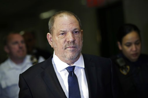 (AP Photo/Mark Lennihan, File). FILE - In this Oct. 11, 2018 file photo, Harvey Weinstein enters State Supreme Court in New York. New York prosecutors say the former lead police detective in Weinstein's sexual assault investigation urged one of his acc...
