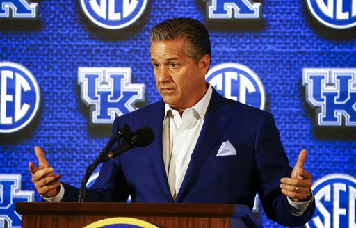 (AP Photo/Butch Dill). Kentucky coach John Calipari speaks during the SEC men's NCAA college basketball media day, Wednesday, Oct. 17, 2018, in Birmingham, Ala.