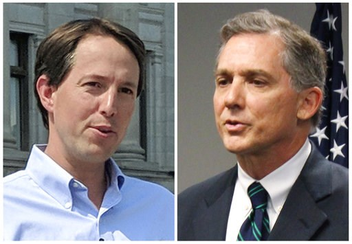 (AP Photos/File). FILE - This combination of 2018 file photos shows Arkansas Congressional candidates, Democrat Clarke Tucker, left, and Republican U.S. Rep. French Hill. Tucker and Hill condemned a political action committee's radio ad that suggests w...