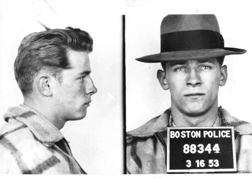 "(Boston Police/The Boston Globe via AP). FILE - These 1953 file Boston police booking photos provided by The Boston Globe shows James ""Whitey"" Bulger after an arrest. Officials with the Federal Bureau of Prisons said Bulger died Tuesday, Oct. 30, 2018,..."