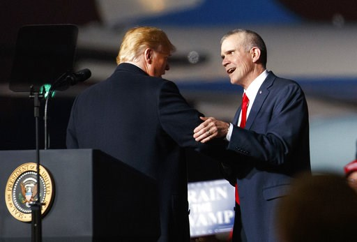 (AP Photo/Carolyn Kaster,File). FILE - In this Oct. 18, 2018 file photo President Donald Trump and Montana State Auditor Matt Rosendale, who is running against Sen. Jon Tester, D-Mont., shake hands during a campaign rally at Minuteman Aviation Hangar i...