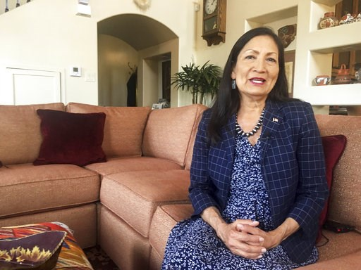 (AP Photo/Russell Contreras, File). FILE - In this June 6, 2018, file photo, Deb Haaland, a Democratic candidate for Congress for central New Mexico's open seat and a tribal member of the Laguna Pueblo, sits at her Albuquerque home. More than 100 Nativ...