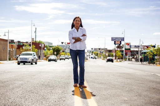 (AP Photo/Juan Labreche, File). FILE - In this June 5, 2018, file photo, Deb Haaland poses for a portrait in a Nob Hill Neighborhood in Albuquerque, N.M. More than 100 Native Americans are seeking seats in Congress, governor's offices, state legislatur...