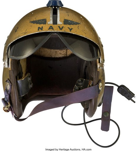(Courtesy of Heritage Auctions via AP). This undated photo provided by Heritage Auctions shows a helmet worn by John Glenn during the history-making flight, dubbed Project Bullet, in which the future astronaut set the transcontinental speed record in 1...