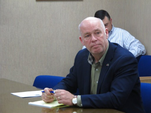 (AP Photo/Matt Volz). In this Tuesday, Oct. 9, 2018 photo Rep. Greg Gianforte listens during a meeting with leaders from the Montana Department of Justice and Montana Highway Patrol in Helena, Mont.. Gianforte is running against Democratic challenger K...