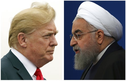 (AP Photo). COMBO - This combination of two pictures shows U.S. President Donald Trump, left, on July 22, 2018, and Iranian President Hassan Rouhani on Feb. 6, 2018.  The Trump administration is announcing the reimposition of all U.S. sanctions on Iran...