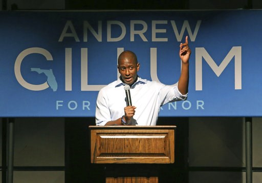 (AP Photo/Steve Cannon). Tallahassee Mayor Andrew Gillum speaks at a campaign stop in his bid for governor, Monday, Nov. 5, 2018, in Crawfordville, Fla.