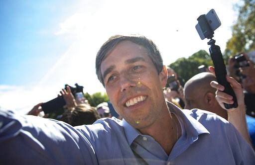 (Nick Wagner/Austin American-Statesman via AP). Beto O'Rourke, the 2018 Democratic candidate for U.S. Senate in Texas, greets supporters following a rally at the Pan American Neighborhood Park in Austin, Texas, on Sunday, Nov. 4, 2018.