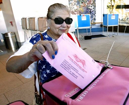 (AP Photo/Rich Pedroncelli). Yolanda Jimenez casts her mail-in ballot in at the voting center at the California Museum Monday, Nov. 5, 2018, in Sacramento, Calif. Voters will pick a new governor and weigh in on contests for the U.S. Senate, Congress, t...