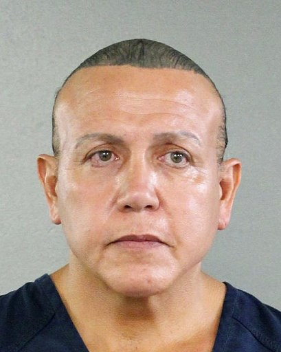 (Broward County Sheriff's Office via AP, File). FILE - This Aug. 30, 2015, file photo released by the Broward County Sheriff's office shows Cesar Sayoc in Miami. Pipe bomb suspect Sayoc is making his first court appearance in New York on Tuesday, Nov. ...