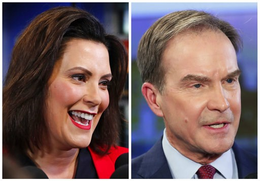 (AP Photo/Carlos Osorio, File). FILE - This combination of Oct. 24, 2018, file photos shows Michigan gubernatorial candidates in the November 2018 election from left, Democrat Gretchen Whitmer and Republican Attorney General Bill Schuette.